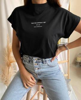 Γυναικείο κοντομάνικο με λουπέτο 4557 μαύρο