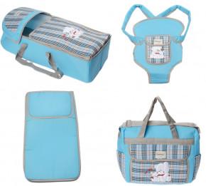 Σετ πορτ μπεμπέ, τσάντα, μάρσιπος και στρώμα 04113 μπλε