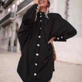 Γυναικείο χαλαρό μπλουζοφόρεμα 3457 μαύρο