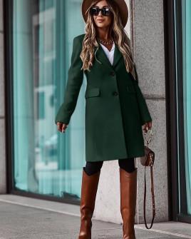 Γυναικείο κομψό παλτό με φόδρα 5355 πράσινο