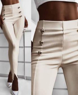 Γυναικείο παντελόνι με σκισίματα 5517 μπεζ