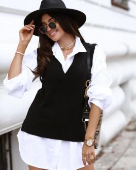 Γυναικείο αμάνικο πουλόβερ 2067 μαύρο