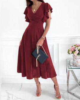 Γυναικείο μιντι φόρεμα 3777 μπορντό