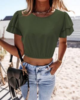 Γυναικεία κοντή μπλούζα 21782 χακί