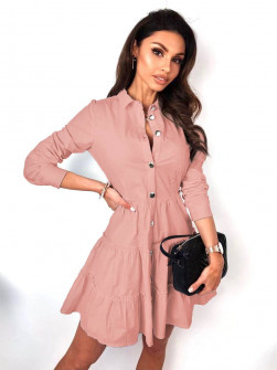 Γυναικείο φόρεμα με κουμπιά 21922  ροζ