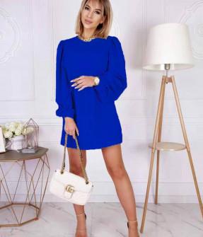 Γυναικείο φόρεμα με φουσκωτό μανίκι 8063 μπλε