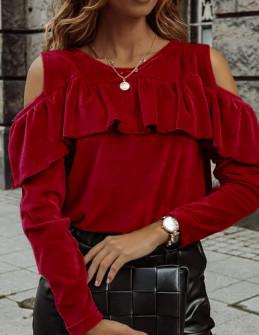Γυναικεία μπλούζα βελουτέ 5385 κόκκινη