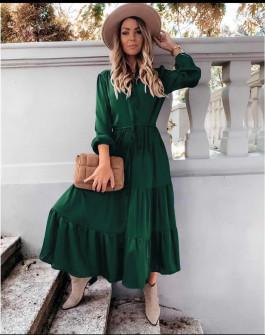 Γυναικείο μακρύ φόρεμα με κουμπιά 5337 πράσινο