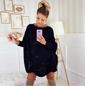 Γυναικείο πλεκτό μπλουζοφόρεμα 7115 μαύρο