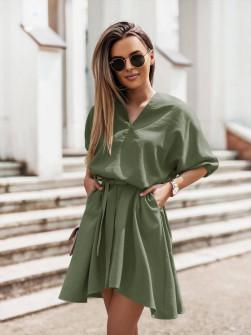 Γυναικείο χαλαρό φόρεμα με ζώνη 5889 χακί