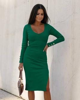 Γυναικείο εφαρμοστό φόρεμα 6020 πράσινο