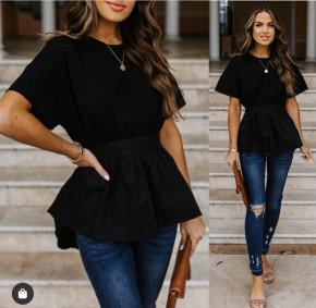 Γυναικείο μπλουζοφόρεμα με κορδόνι 5063 μαύρη