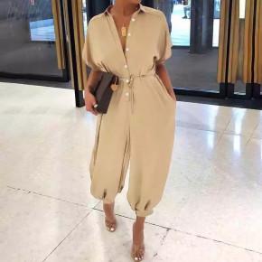 Γυναίκεια χαλαρί ολόσωμη φόρμα 5136 μπεζ