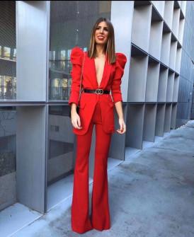Γυναικείο σετ με σακάκι και παντελόνι 9808 κόκκινο