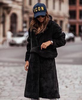 Γυναικείο χνουδωτό μακρύ παλτό 19218 μαύρο