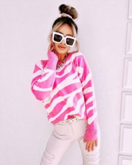 Γυναικείο εντυπωσιακό πουλόβερ 8394 ροζ