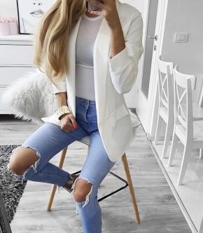Γυναικείο κομψό σακάκι με φόδρα 3229 άσπρο