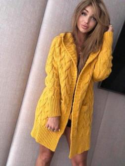 Γυναικεία ζακέτα με κουκούλα 277 κίτρινη