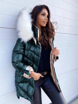 Гυναικέιο μπουφάν με χνουδωτό γιακά και κουκούλα MF2101  πράσινο