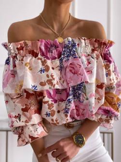 Γυναικεία μπλούζα με εντυπωσιακό ντεσέν 5812204