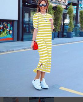 Γυναικείο μακρύ φόρεμα με κοντό μανίκι 5141 κίτρινο