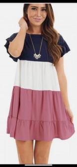 Дамска трицветна рокля с къс ръкав 3382 розова
