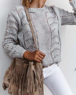Γυναικείο εντυπωσιακό πουλόβερ 3324 γκρι