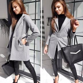 Γυναικείο παλτό με ζώνη και φόδρα 20501 γκρι