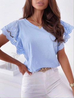 Γυναικεία μπλούζα με δαντέλα 20728 γαλάζια