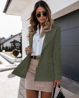 Γυναικείο σακάκι με φόδρα 5256 σκούρο πράσινο