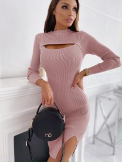 Εφαρμοστό φόρεμα 26885 ροζ