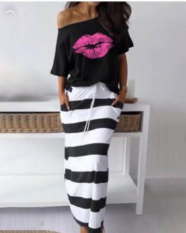 Γυναικείο σετ φούστα και μπλούζα 2199 μαύρο