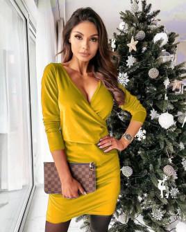 Γυναικείο φόρεμα κρουαζέ 80444 κίτρινο