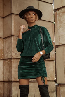Γυναικείο σετ φούστα και μπλούζα 3495 χακί