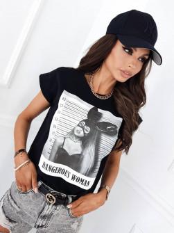 Γυναικείο κοντομάνικο με στάμπα 51524 μαύρο