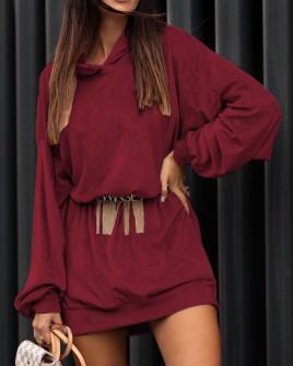 Γυναικείο μπλουζοφόρεμα βελουτέ 3305 μπορντό