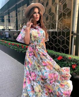 Γυναικείο φόρεμα με φλοράλ ντεσέν 21351