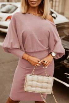 Γυναικείο φόρεμα με έναν ώμο 3675 ροζ