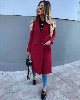Γυναικείο παλτό με τσέπες και φόδρα 3781 μπορντό