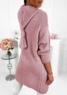 Γυναικεία ζακέτα με κουκούλα 2055 ροζ