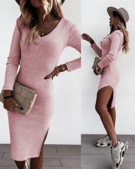 Γυναικείο φόρεμα με σκίσιμο 13768 ροζ