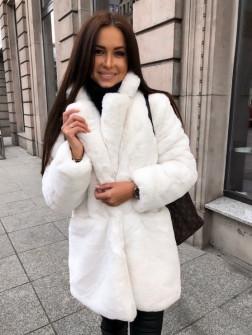 Γυναικείο χνουδωτό παλτό 21131 άσπρο