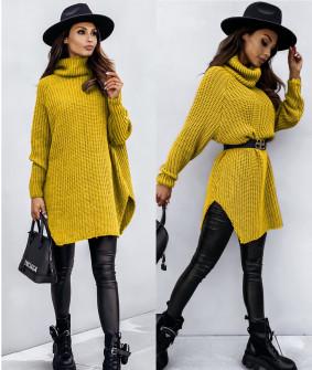 Πλεκτό μπλουζοφόρεμα 4752 κίτρινο