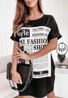 Γυναικείο μπλουζοφόρεμα με στάμπα 4655 μαύρο