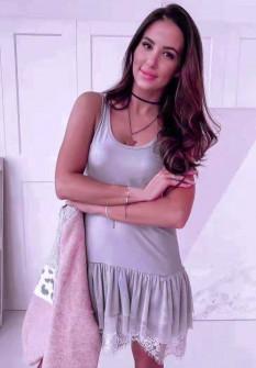 Γυναικείο φόρεμα με δαντέλα 3506 γκρι