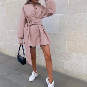Γυναικεία πουκαμίσα με ζώνη 5023 ροζ
