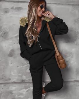 Γυναικείο σετ με γούνα στην κουκούλα 2635 μαύρο