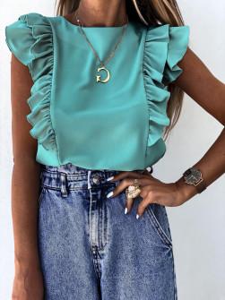 Γυναικεία μπλούζα με βολάν 2154 μέντα