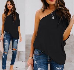 Χαλαρή μπλούζα με έναν ώμο 5084 μάυρη