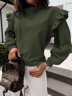 Дамска блуза с обемни ръкави 24155 тъмно зелена